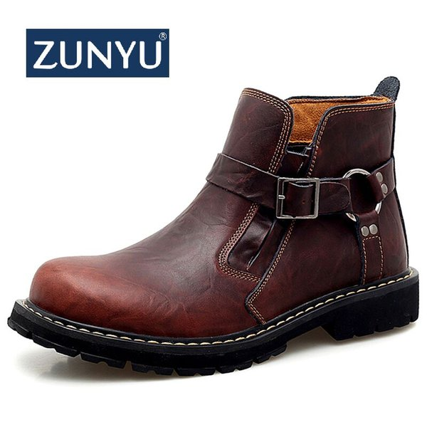 ZUNYU 2019 Autumn Early Winter Boots Men Genuine Leather Shoes Men Casual Shoes Cow Leather Male Footwear Man Ankle Boots Black