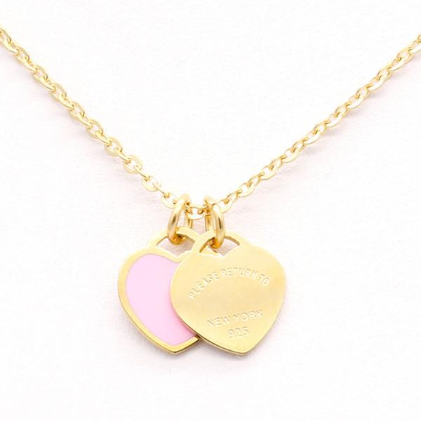 316L paslanmaz çelik Tif pembe çift Kalp Kolye kolye şeftali kalp iki renk kolye kadın gül altın kolye Ile En orijinal kutu