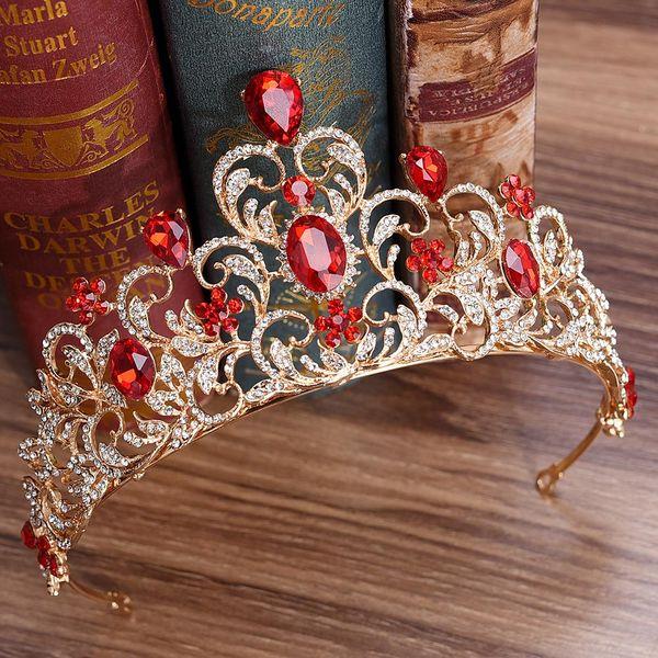 KMVEXO Rojo Verde Cristal Boda Corona Reina Tiara Novia Corona Diadema Accesorios de novia Diadema Mariage Adornos para el cabello Joyas