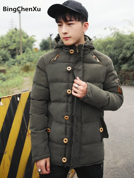 winter hooded parka men slim fit thicken down jacket 2018 fashion green male parka coat padded warm overcoat brand clothing 1180