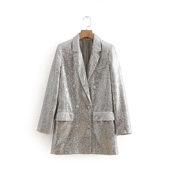 2019 Весна костюм воротник куртки с длинными рукавами двубортный костюм прямой трубки сплошной цвет средней длины блестками женские пиджаки