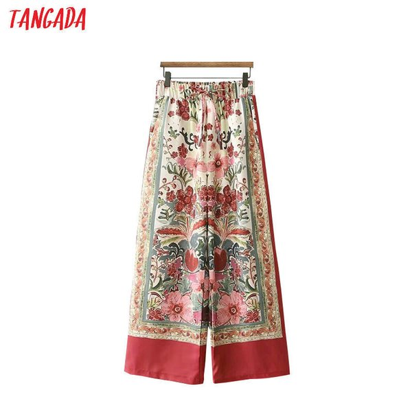 Tangada Summer Woman Floral Print Red Wide Leg Pants Bow Tie Pocket Retro Female Streetwear Casual Trousers Mujer Xd290 Y19051701