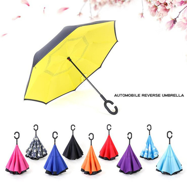 top popular Windproof Reverse Umbrella Double Layer Inverted Folding Umbrellas With C Handle Self Stand Inside Out Umbrella Reverse Sunshade A2206 2019 2019