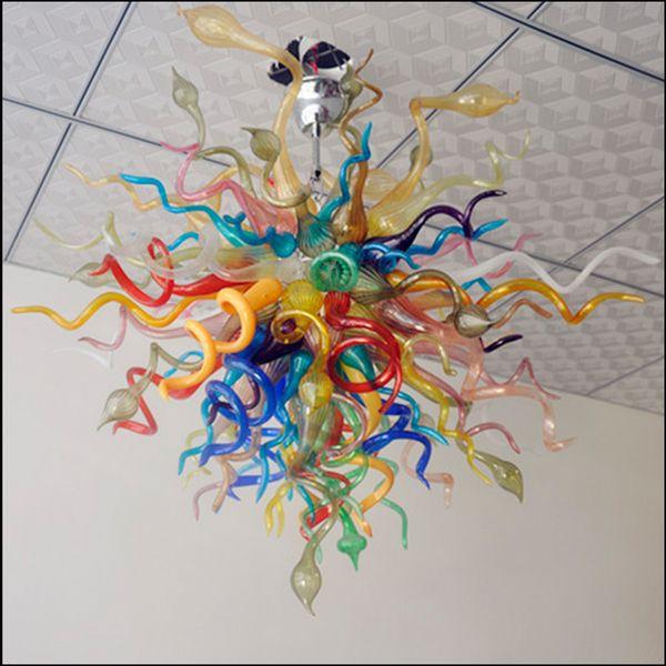 Lámparas multicolores españolas Diseñador de arte Cristal de Murano Araña moderna LED Arañas y suspensiones de vidrio soplado decorativas personalizadas