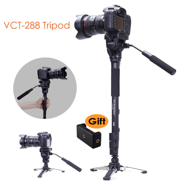 Yunteng 288 Kamera Einbeinstativ Stativ + Fluid-Pan-Kopf + unipod Halter-Unterseiten-Standplatz für Canon Nikon Sony DSLR Smartphone Clip