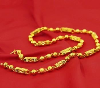 Men glitting fashion jewelry Vietnamese simulated gold copper Six corner beads necklace for husband boyfriend birthday festival gift