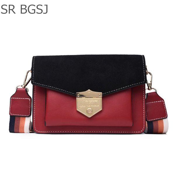 Ücretsiz Kargo Siyah / Kırmızı / Haki Vintage Lady Kadın Deri Omuz Satchel PU Messenger Çanta Zincirler Günü Paketi