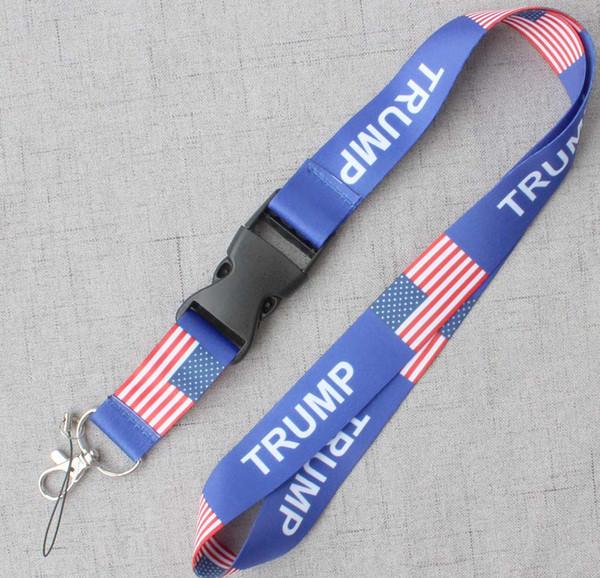 Amerika Birleşik Devletleri bayrağı TRUMP telefon İpi Anahtarlık KIMLIK Rozeti cep telefonu sahibi Boyun Askısı Mavi.