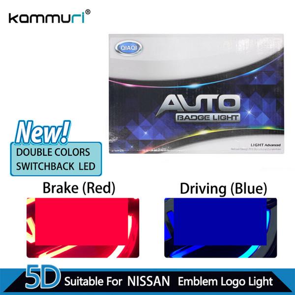 KAMMURI Car Styling Double Colors 5D Rear Badge Logo Light for Tiida X-Trall Livina Cedric Geniss led Emblem Logo Light