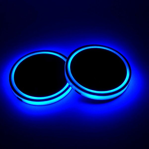 top popular 2X Car LED Light Cup Holder Automotive Interior USB Colorful Atmosphere Lights Lamp Drink Holder Anti-Slip Mat Auto Products 2019