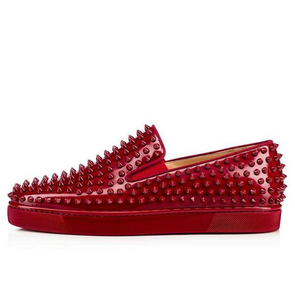 Hombres libres del envío womem de gama alta de encargo remaches negros zapatos casuales al aire libre bajo superior de cuero genuino zapatilla de deporte inferior tamaño rojo: 35-47 w12