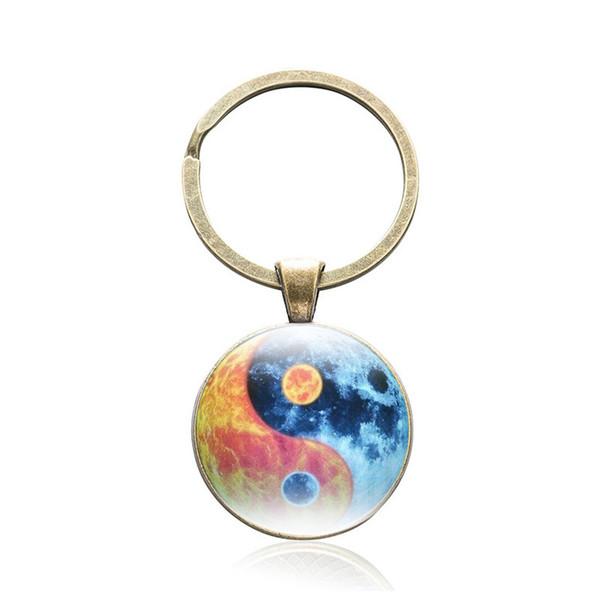 Canuomen 10 pcs/lot Yin Yang Keychain Glass Cabochon Product Ying yang Keyring Birthday Gift Tai Chi Pendant Key Chain