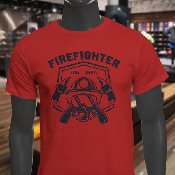 Distressed Fire Fighter Hero Fireman Volunteer Mens Red T-Shirt Shirt Men's Awesome Custom Short Sleeve Valentine's 3XL Party Tshirts