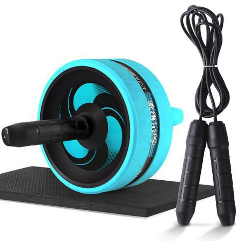 Wholesale- New 2 in 1 Ab Roller&Jump Rope No Noise Abdominal Wheel Ab Roller with Mat For Arm Waist Leg Exercise Gym Fitness Equipment
