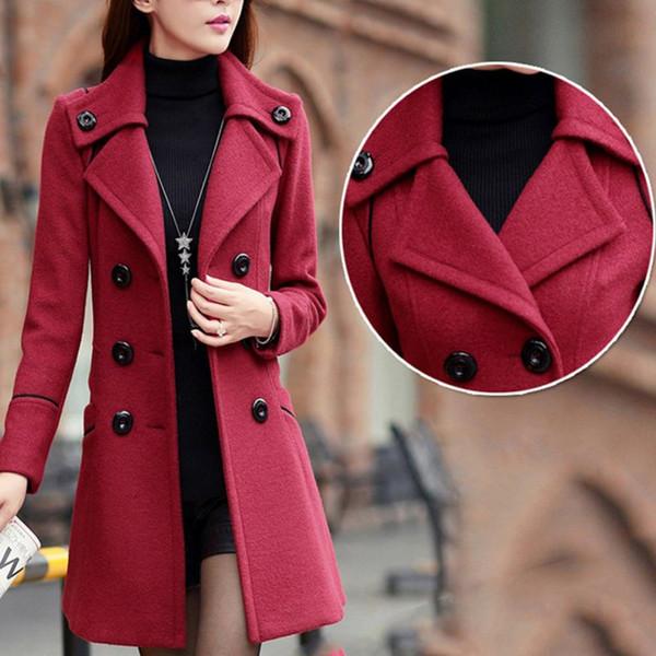 Fashion Solid Winter Wollmäntel Für Frauen Zweireiher Mantel Umlegekragen Dünne Oberbekleidung Weibliche Trenchcoat