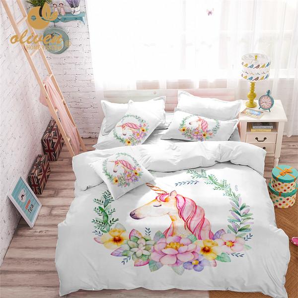 Unicorn Bedding Set Pink Designer Duvet Cover Cartoon Animal Printed Bed  Line For Kids Princess Room US/AU/RU Color Zebra Print Bedding Tropical ...
