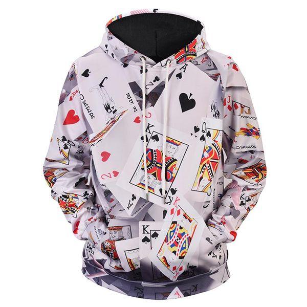 Funny Poker Paper Playing Cards Harajuku Newest Men/Women Tops 3D Printing Hoodies Sweatshirt Unisxe Funny Long Sleeved Hoodies N375
