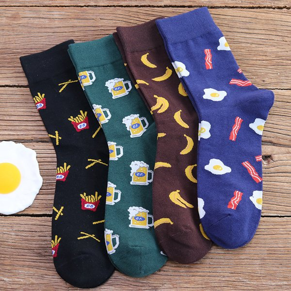 Cartoon Printed Cotton Socks Men Women Fruit Egg Beer Winter Warm Streetwear Tube Socks Unisex Multicolor Casual Harajuku