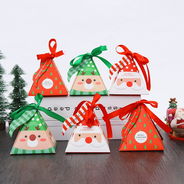Christmas Sweet Candy Boxes Gift Wraps Papers Bags Xmas Party Wedding Tray Packaging Box With Ribbon Rope Table Decoration DHL XD19938
