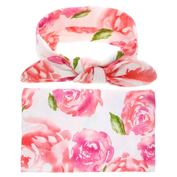 Brand New Floral Print Infants Newborn Receiving Swaddle Blanket Headband Set Baby Wrap Towel