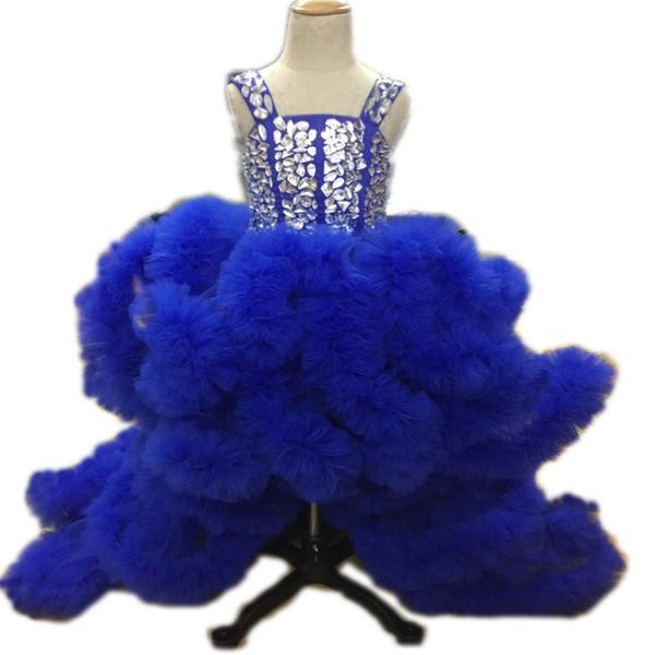 Фиолетовый синий китайский стиль потрясающий двойной плечевой ремень складной maomao выпускной церемонии свадьбы девушки цветка девушки театрализованное платье