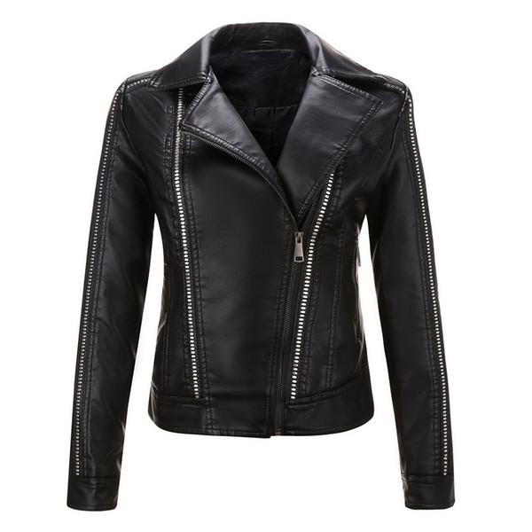 Motosiklet giyim ceket Perçinler fermuar palto bayan suni deri ceketler rüzgarlık ilkbahar sonbahar palto slim fit en moda 2019