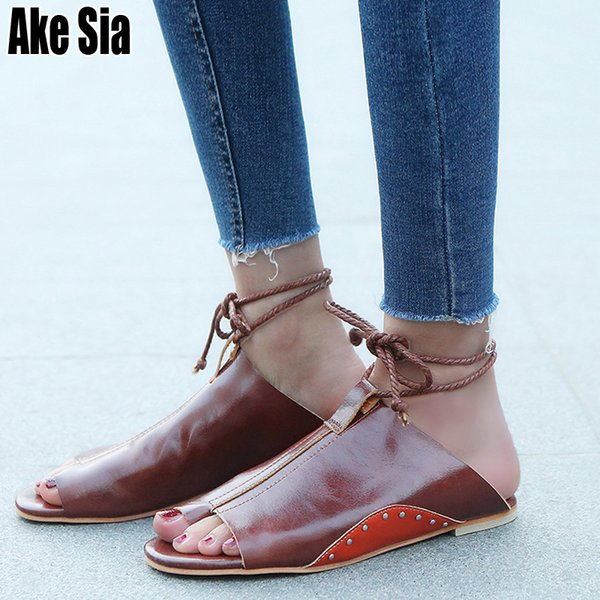Ake Sia Summer Women Ladies Casual Lace Up Mules Babouche Beach Loafer Lazy Flat Sandals Toe Ring Flip Flops Slippers Shoes A258