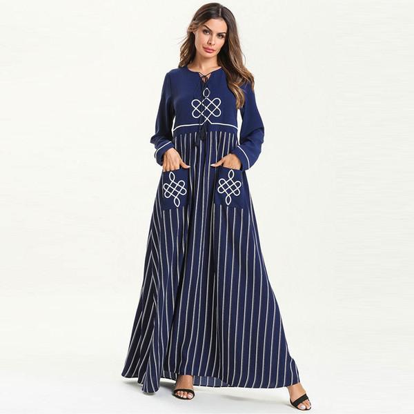 Bata nacional de mujer Abaya islámica musulmana del Medio Oriente vestido largo estilo de Inglaterra poliéster vestidos completos O-cuello moda C30501