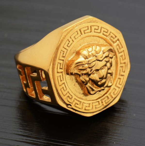 gold plated men rings classic Stainless Steel Golden Hip hop Mens Ring President men ring free shipping