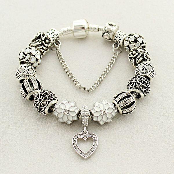Fit pandora factory ilver plated with logo heart gla cry tal bead ilver white peach heart bracelet bead love bracelet petal pendant, Golden;silver