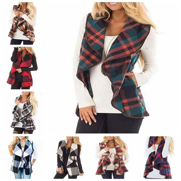 Ekose Yelek Bayan Hırka Izgara Kolsuz Yelek Baskılı Coats Gömlek Yaka Moda Günlük Cep Ceketler bluzlar D6789 Tops Kontrol