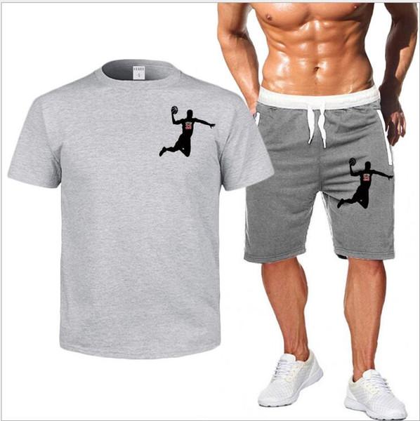 Juego de chándal de gimnasia para hombre Verano Casual Sporting para hombre Camisetas de manga corta de secado rápido + Shorts Traje de 2 piezas Conjunto Conjunto de chándal