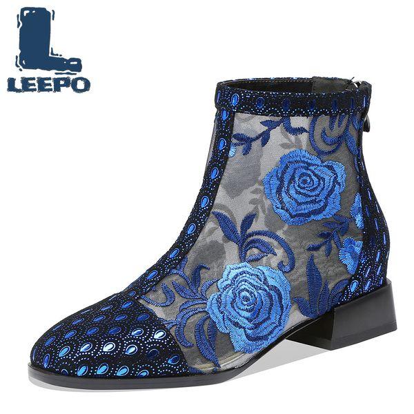 LEEPO ботильоны для женщин ручной работы Luxury Конструкторы Летние Перфорированные Lace-Up вышивают Net Boots женщина Mesh пинетки Красные туфли