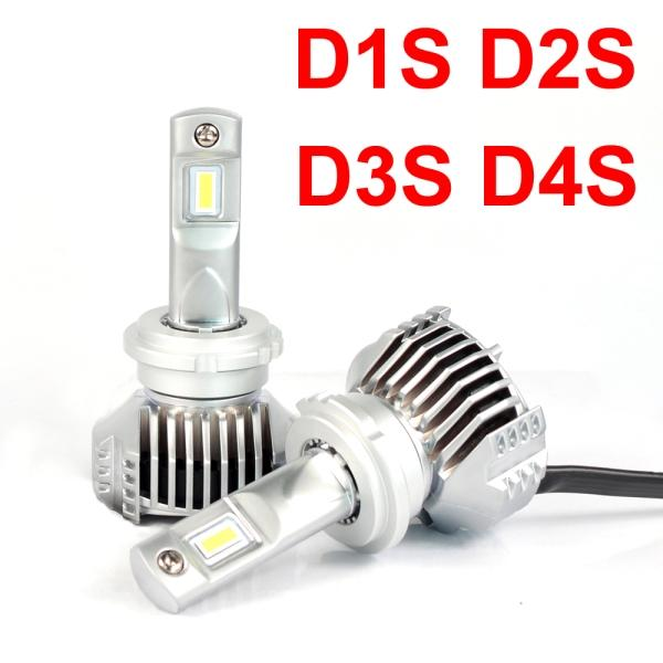 1 Set D1S D2S D3S D4S P12 Car LED Headlight Super Bright 0.72MM Ultra Thin No Blind W/ Driver Turbo Fan Front Lamp Bulb 6K White 90W 13000LM
