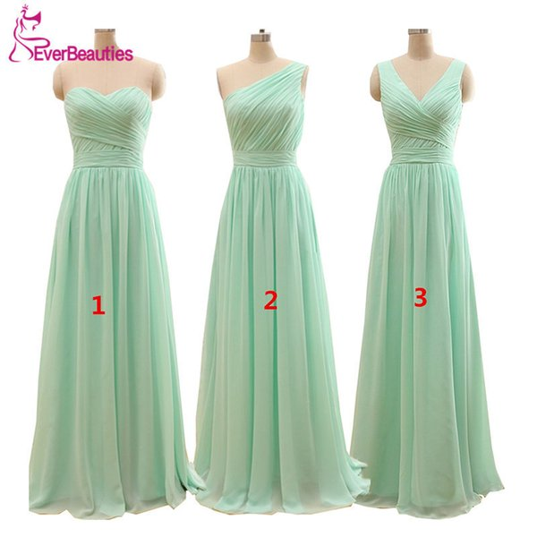 2019 Cheap Mint Green Bridesmaid Dresses Under 50 Floor Length Chiffon A Line Dressed As Long Marriage Godmother Q190516 From Yiwang04 76 89