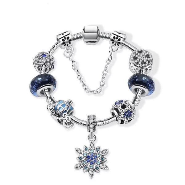 Moda Azul Estrela Pulseira Do Céu Para O Natal Neve Abóbora Gota Pulseira DIY Talão De Vidro Talão Pandora Mão Jóias