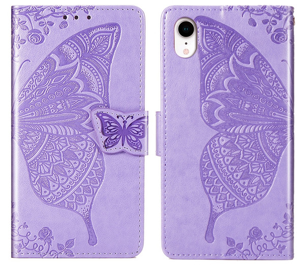 For Iphone XS MAX XR X 8 7 6 Galaxy S10 S10e S9 Imprint Big Butterfly Wallet Leather Cases Lace Cute Flower Holder Card ID Slot Flip Covers