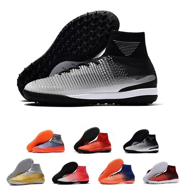 Discount Top Quality Mercurial Superfly V Tf Mens Soccer Shoes Mercurial Proximo Ii Cr7 Tf Cr7 Pitch Dark Waterproof Football Shoes