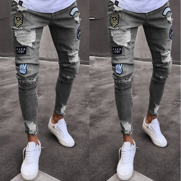 Acquista Jeans Strappati Denim Uomo Jeans Slim Biker Fashion Hip Hop Matita Skinny A Righe Uomo Stretch Patchwork Homme A $32.88 Dal Missher  