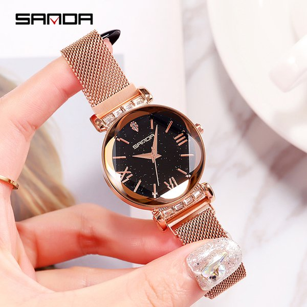 2019 Mesh Crystal Ladies Watch Women Magnet Clasp Dress Women Watches Fashion Rose Gold Quartz Watches relogio feminino