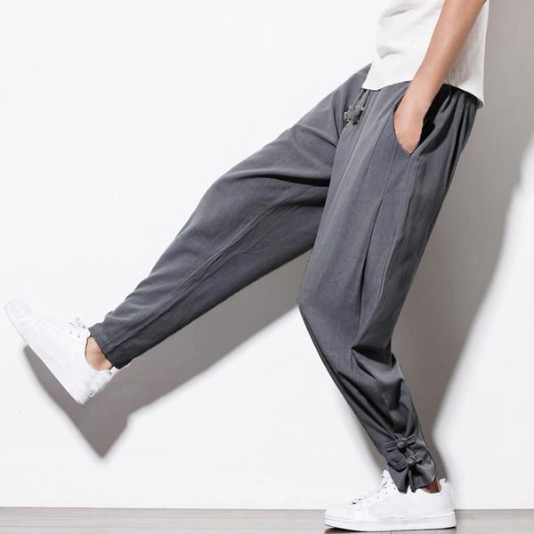 INCERUN Automne Nouveau Sarouel lin Hommes Sweatpants Casual taille élastique traditionnel Pantalon chinois Hommes Joggings Hip Hop