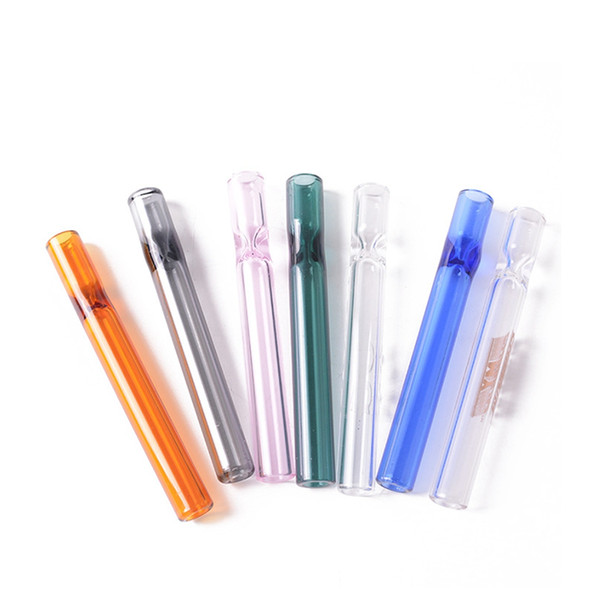 top popular colroful thick pyrex 4inch One Hitter Bat Cigarette Holder Glass Steamroller Pipe filters for tobacco dry herb oil burner hand pipes free sh 2021