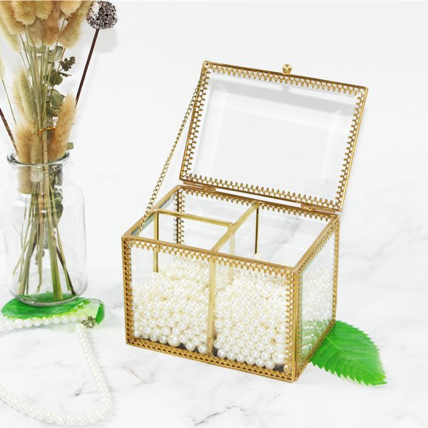 Retro Glass Storage Box Cotton Swab Cotton Pad Small Box Transparent Dressing Table Desktop Finishing Storage