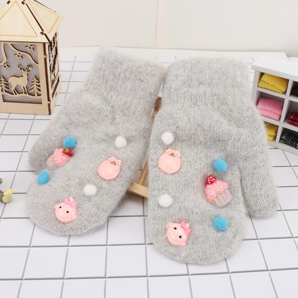 1Pair New Arrival Winter Faux Rabbit Fur Gloves Warm Soft Cotton Full Fingers Girls Mitten Cartoon Printed Children Glove