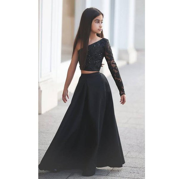 Cute Beaded Lace Applique Sheer Long Sleeve Black A Line Two Pieces Girls Party Gowns Fast Shipping 2019 Custom Pageant Dresses for Teens