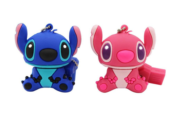 Good quality cartoon blue pink model Stitch usb flash drive usb 2.0 4GB 8GB 16GB 32GB 64GB pendrive cute mini Stitch pen drive