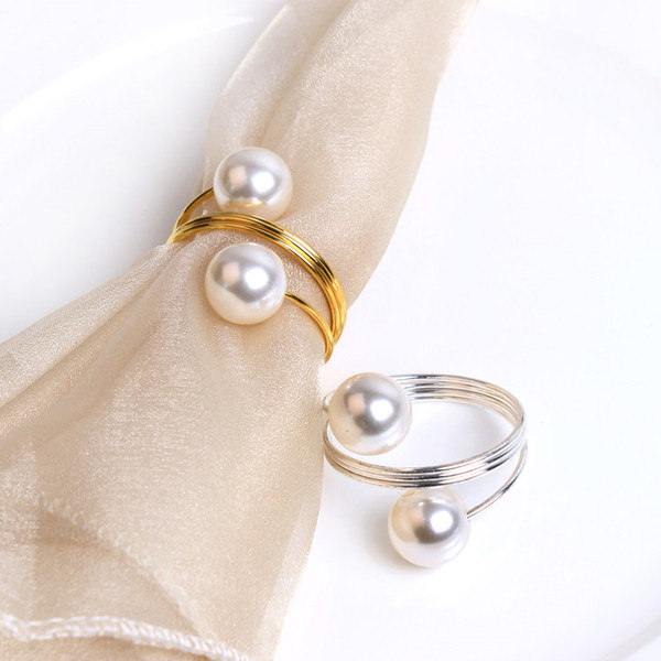 Wedding Pearl Napkin Ring Napkins Holder Napkins Rings Pearls with Gold Silver Ring for Table Decoration