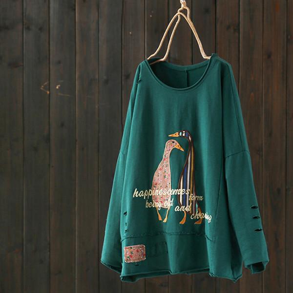 Johnature Kadınlar Nakış Kawaii T-Shirt 2019 Bahar Yeni O-Boyun Uzun Kollu Aplikler Harajuku Kadın Giyim Japon Tshirt Y19042101