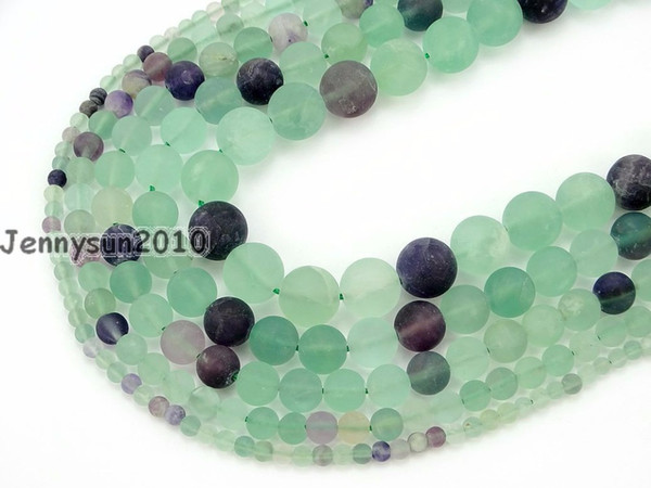 Natural Matte Rainbow Fluorite Gems Stone Round Beads 15'' 4mm 6mm 8mm 10mm 12mm Strand for Jewelry Making Crafts 5 Strands/Pack