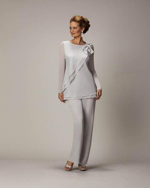 Yeni Damat anne Gelin Elbiseler Düğün Konuk Örgün Akşam elbise Ile Uzun Kollu Mürettebat anneler Suit Gri Şifon Fermuar